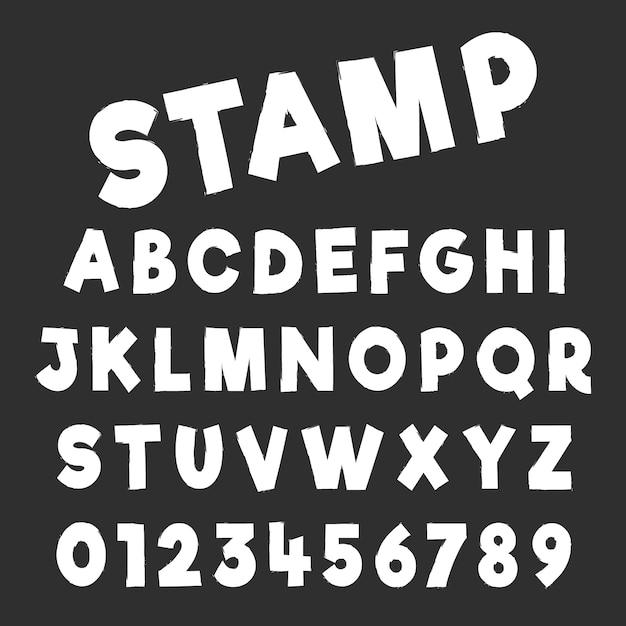 グランジアルファベットフォントテンプレート。素朴なデザインの文字と数字。ベクトルイラスト Premiumベクター