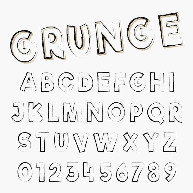 グランジアルファベットフォントテンプレート。悩んだストロークデザインの文字と数。ベクトルイラスト Premiumベクター