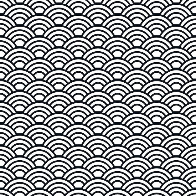 Японские волны бесшовные модели Premium векторы