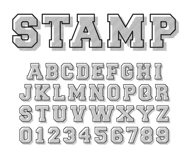 スタンプアルファベットフォントテンプレート Premiumベクター