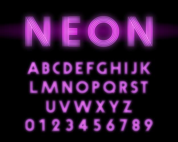 Ретро неоновый алфавит шрифт Premium векторы