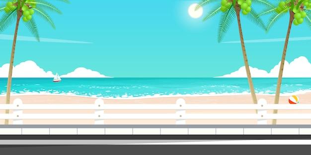 幸せな夏の旅行、海の道のベクトル。 Premiumベクター