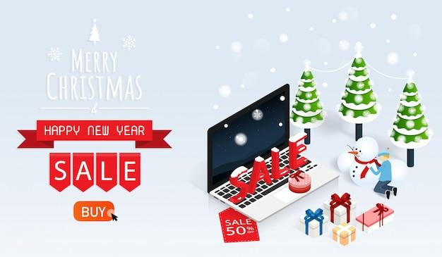 メリークリスマスと幸せな新年のオンライン販売ベクトル Premiumベクター