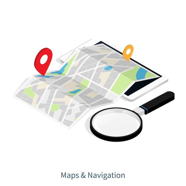 Приложение «карты и навигация» Premium векторы