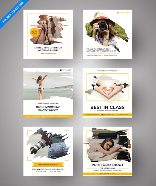 視差写真デジタルマーケティングのためのソーシャルメディアポスト Premiumベクター