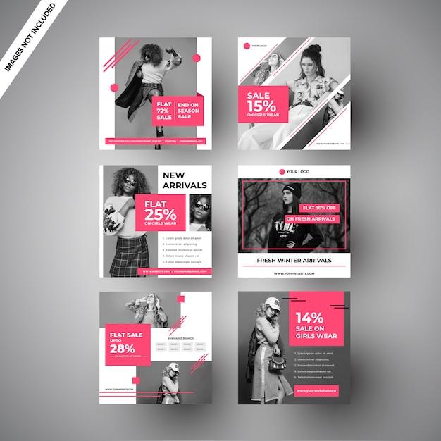 デジタルマーケティングのためのピンクのファッションセールソーシャルメディア投稿 Premiumベクター