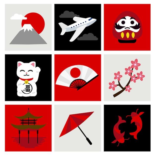 日本への旅セット Premiumベクター