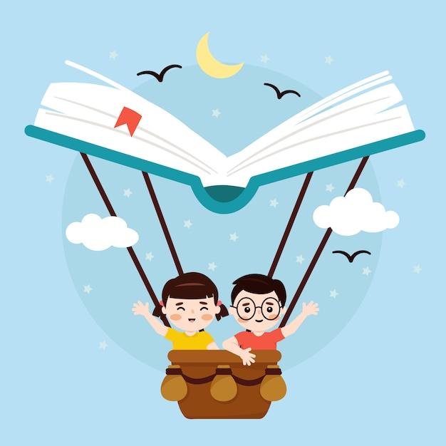 Всемирный день книги, девочка и мальчик на баллонной книге Premium векторы