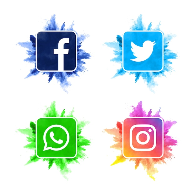 現代の水彩ソーシャルメディアアイコンコレクション Premiumベクター