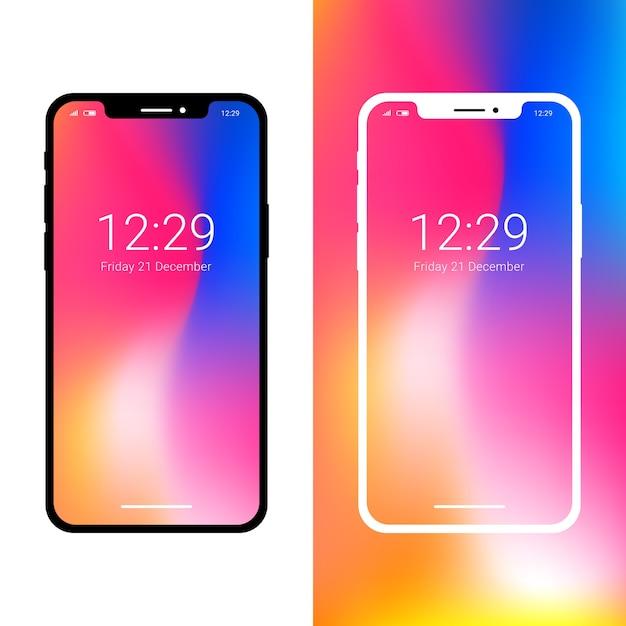 最新のスマートフォンモックアップ、ノッチディスプレイ Premiumベクター