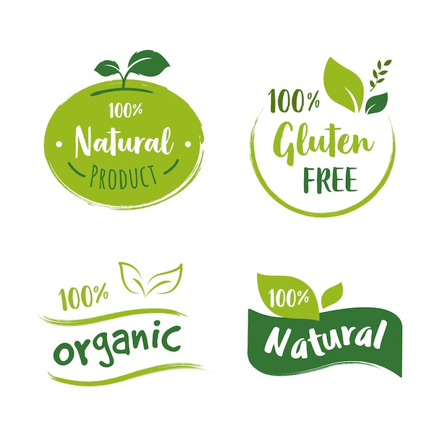 Коллекция логотипов органических продуктов питания Premium векторы