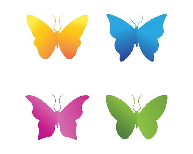 ベクトル - 蝶、概念的なシンプルでカラフルなアイコン。ロゴ。ベクトル図 Premiumベクター