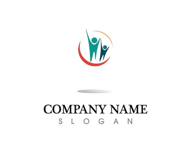 健康成功の人々がケアのロゴとシンボルのテンプレート Premiumベクター