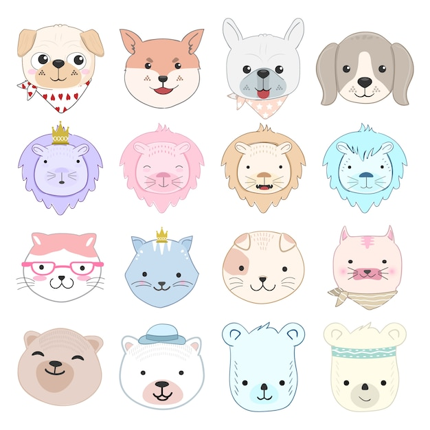 Милый ребенок животных мультфильм набор символов иллюстрации Premium векторы
