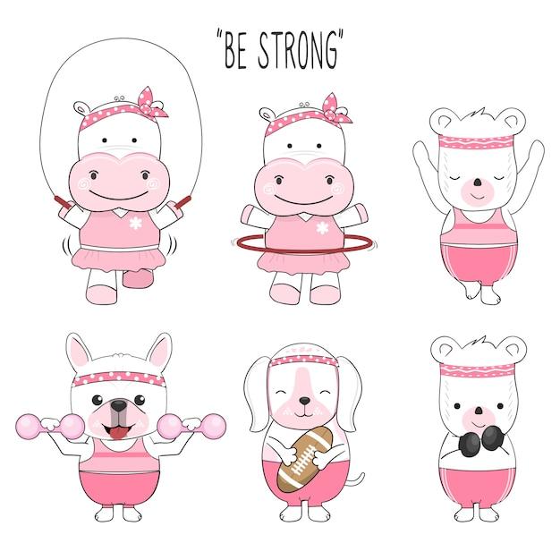 かわいい赤ちゃん動物漫画エクササイズセット Premiumベクター