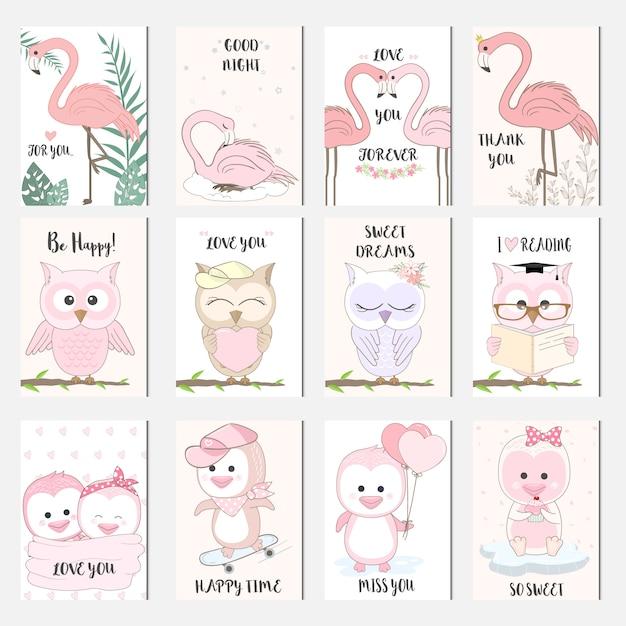 かわいい赤ちゃん動物漫画鳥カードセット Premiumベクター