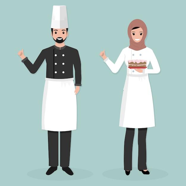 Мусульманский мужчина и женщина повар Premium векторы