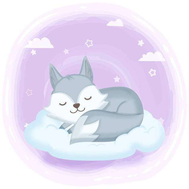 Фокс спит на облаке рисованной иллюстрации Premium векторы