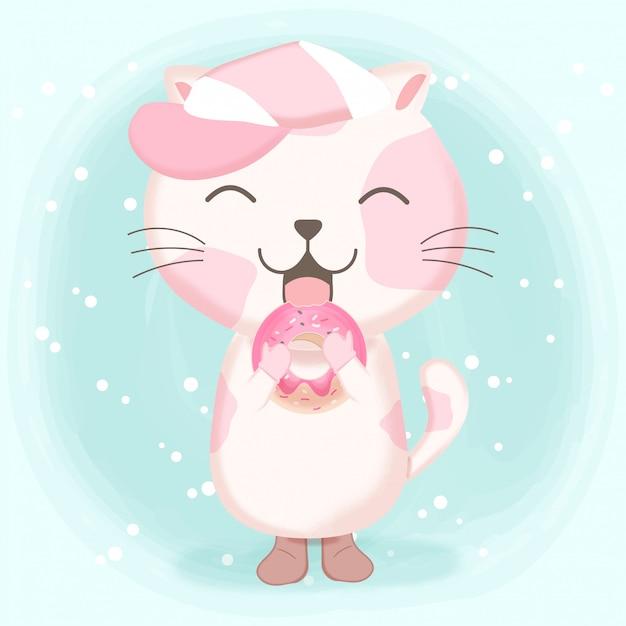 ドーナツ漫画イラストかわいい猫 Premiumベクター