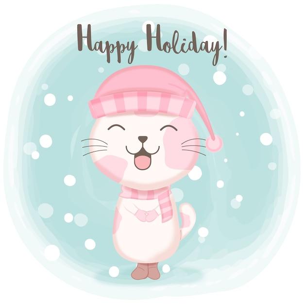 雪漫画イラストのかわいい子猫 Premiumベクター