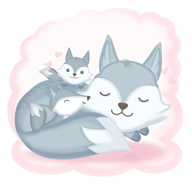 フォックス家族の眠っている手描きイラスト Premiumベクター