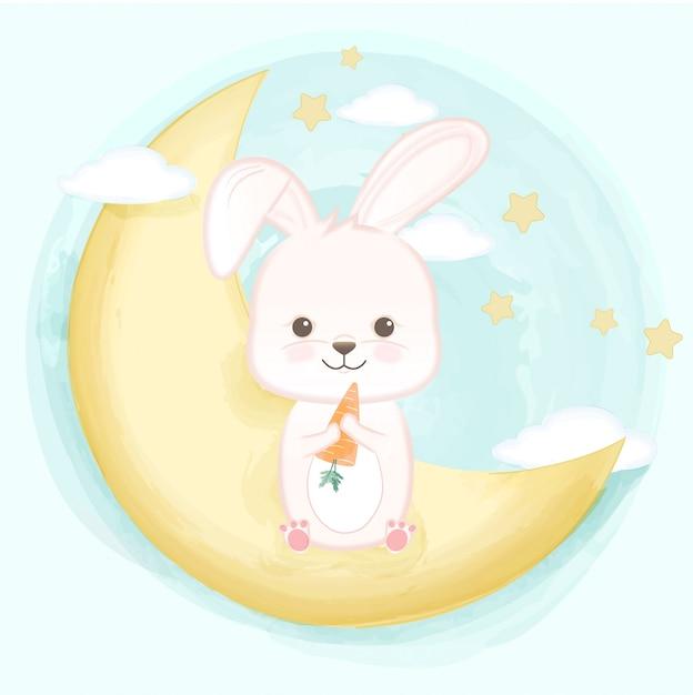 三日月のかわいい赤ちゃんウサギ Premiumベクター