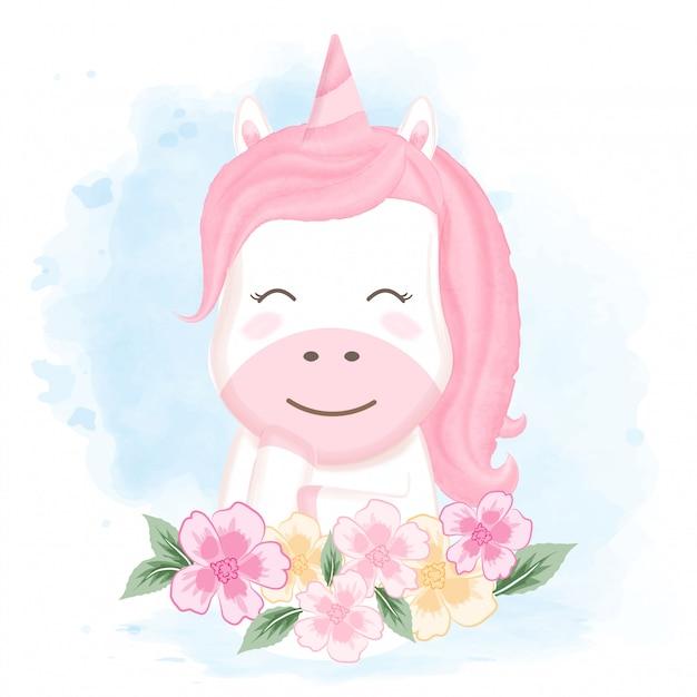 かわいいユニコーンと花の手描き漫画 Premiumベクター