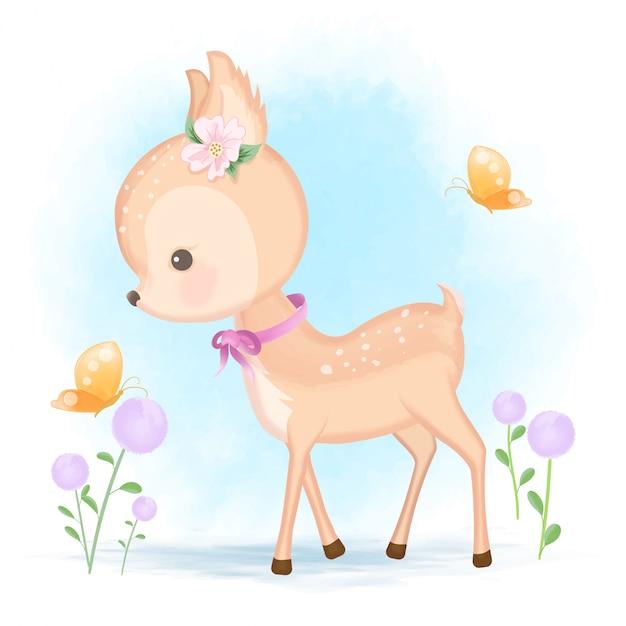 Детские олени и бабочка рисованной иллюстрации животных мультфильм Premium векторы
