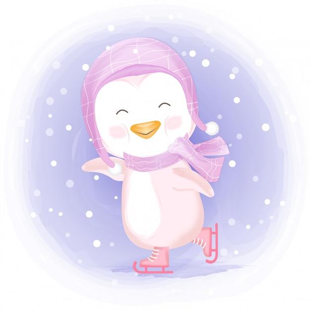 アイススケートをしている赤ちゃんペンギン手描きイラスト Premiumベクター