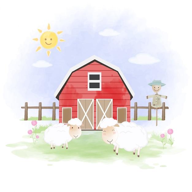 羊、かかし、納屋の手描きイラスト Premiumベクター