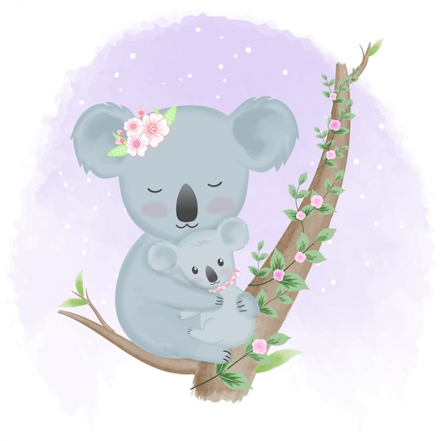 かわいい赤ちゃんコアラと木の母 Premiumベクター