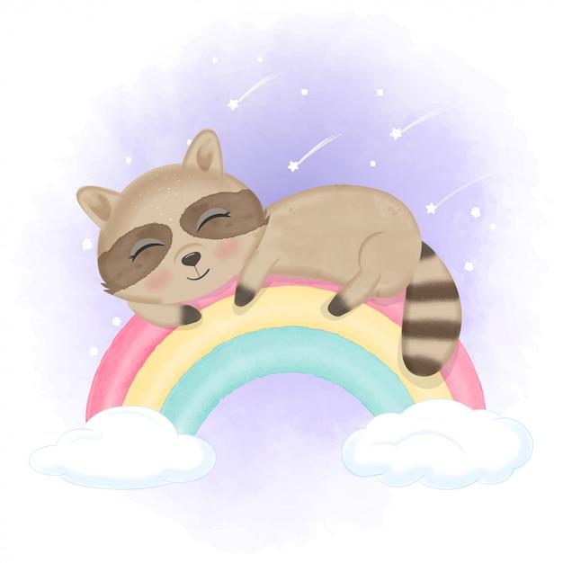 Милый маленький енот, спящий на радуге Premium векторы