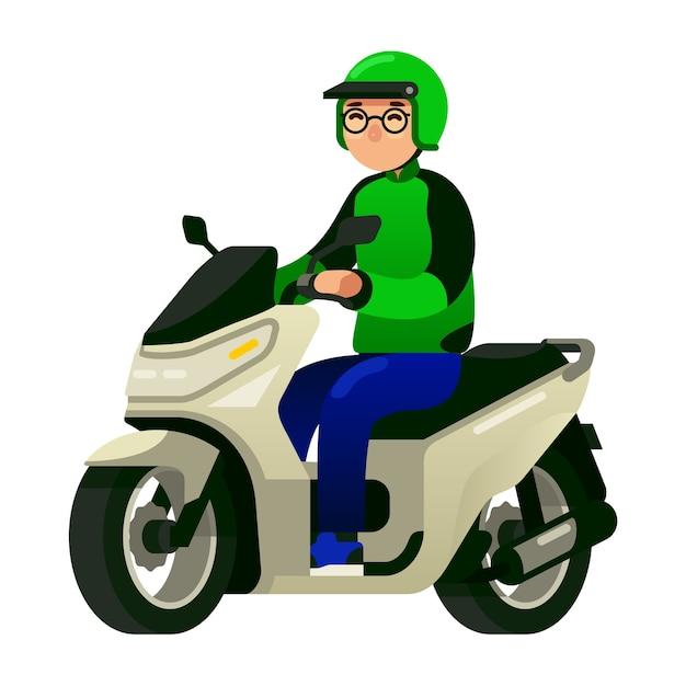 Коммерческий водитель такси для мотоциклов Premium векторы