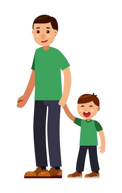 お父さんと一緒に歩く息子 Premiumベクター
