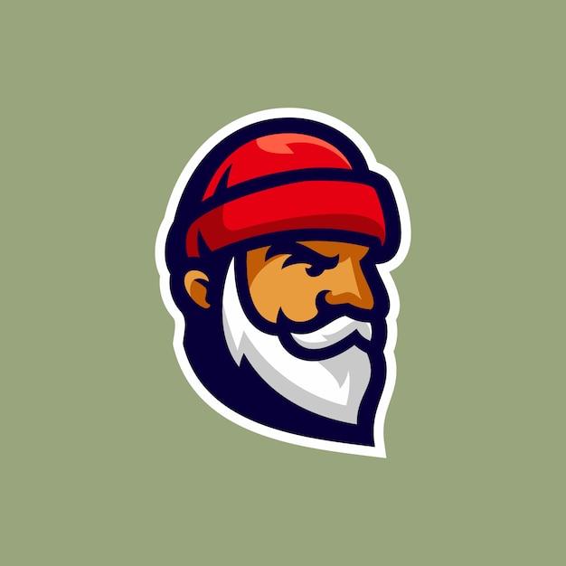 古い木こりの頭のロゴのベクトル図 Premiumベクター
