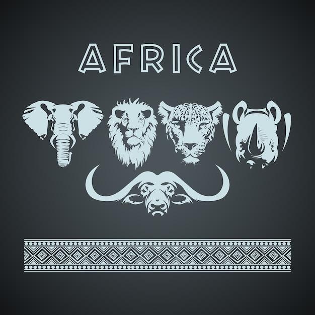 Африканские большие пять животных и узор Premium векторы