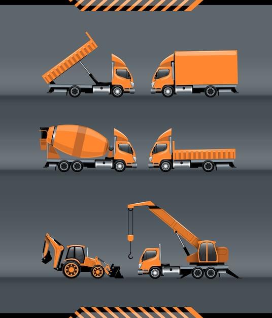建設トランスポートセット Premiumベクター