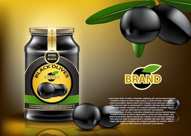 伝統的なブラックオリーブは、ガラス容器に缶詰に入れられ、素敵なラベルとカバーが付きました。現実的な編集可能なモックアップ。 Premiumベクター