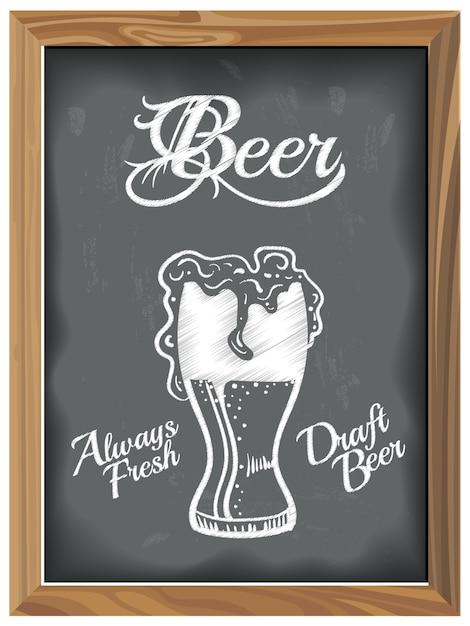 ビールグラスのビンテージチョークボード Premiumベクター