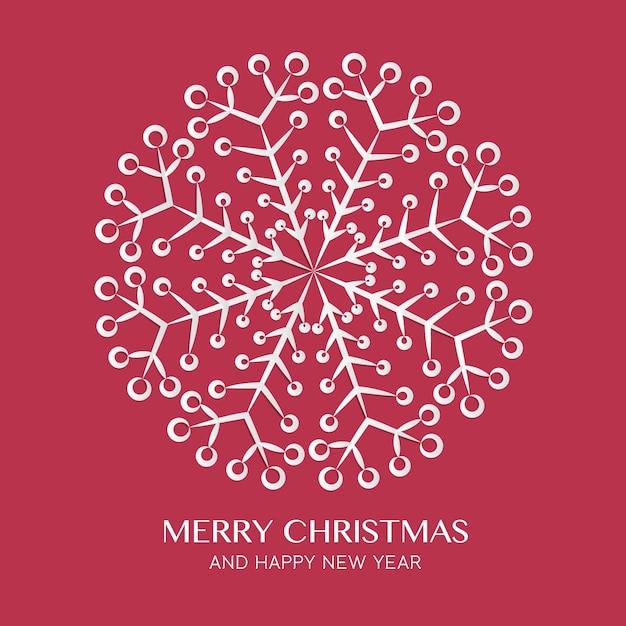 クリスマスと幸せな新年グリーティングカード抽象的な雪片の曼荼羅のデザイン Premiumベクター