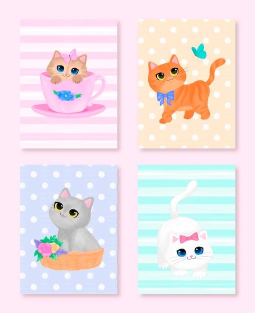 Прекрасная коллекция меловых пастельных карточек котят Premium векторы