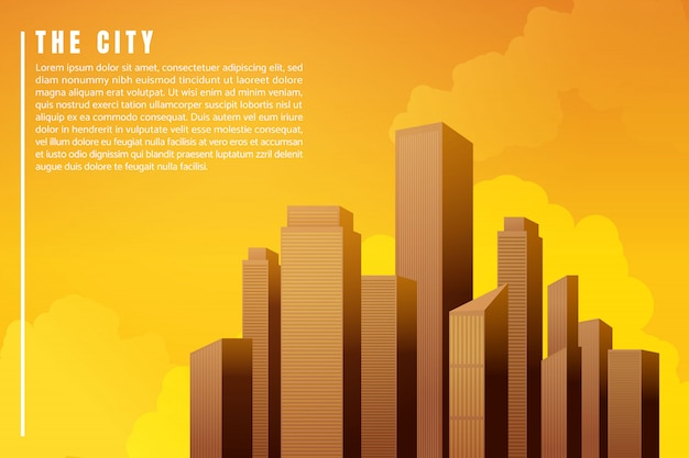 都市景観建築の建物の高層ビルの夕日。イラストベクトル Premiumベクター