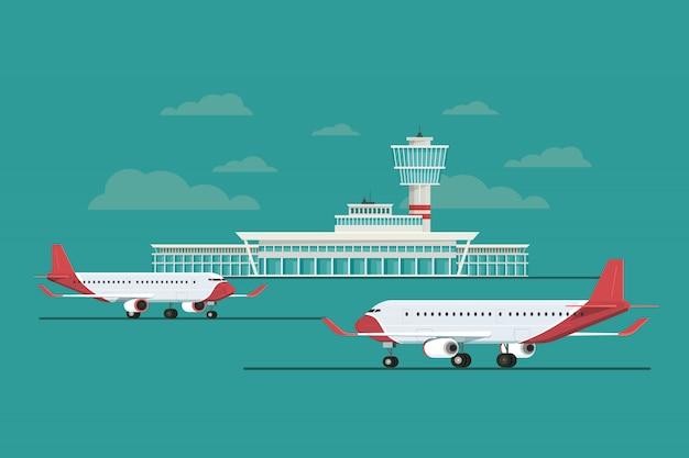 Самолет в аэропорту прибытия и вылета путешествия небо Premium векторы