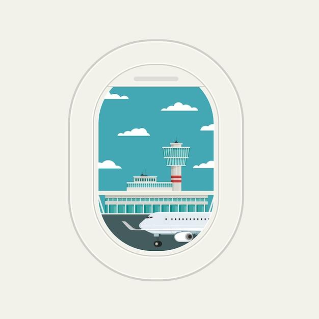 Просмотр окна самолета в аэропорту прилета и вылета Premium векторы