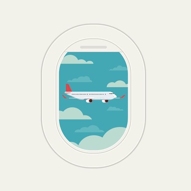 Вид из окна самолета, вид самолета в небе путешествия Premium векторы