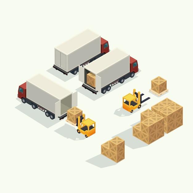 出荷ヤードで貨物コンテナーを持ち上げるフォークリフトで貨物物流トラックと輸送コンテナー。等角投影図のベクトル Premiumベクター