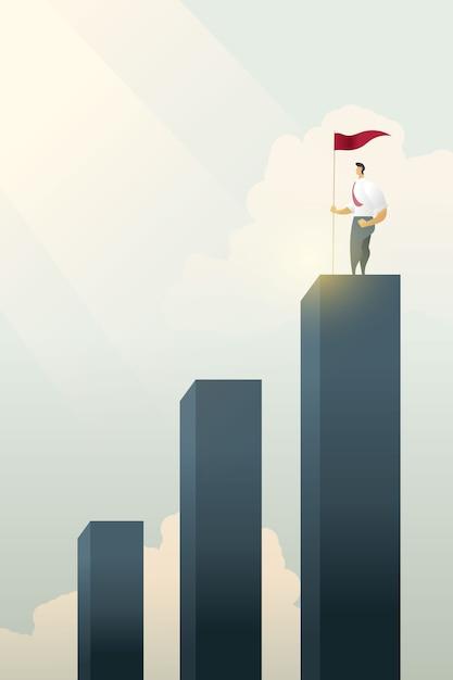 Бизнесмены гордые с флагом на стоя на верхней части диаграммы в виде вертикальных полос. Premium векторы