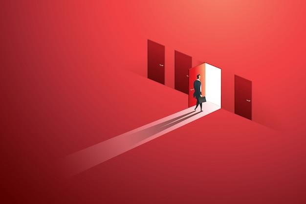 赤い壁の目標の成功への選択パスの開いたドアを歩くビジネスマン。図 Premiumベクター