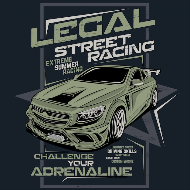 法的ストリートレース、ベクトル車のイラスト Premiumベクター