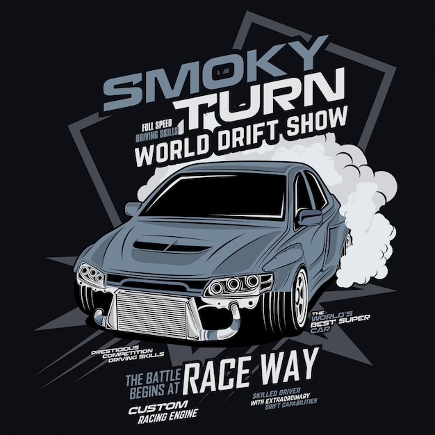 スモーキーターン世界ドリフトショー、ベクトル車のイラスト Premiumベクター